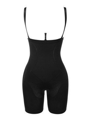 Black Double Straps Seamless Full Body Shaperwear Smooth Abdomen