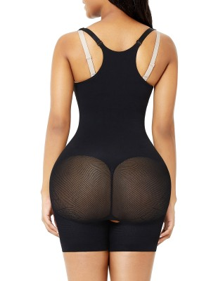 Black Open Bust Body Shaper Thigh Slimmer Shorts Abdominal Control