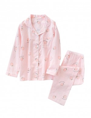 Catching Two Pieces Peach Pattern Full Sleeve Pajama Exquisite Design
