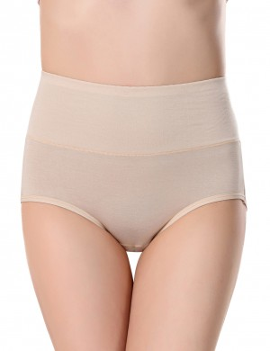 Sexy Beige Solid Color 3 Layers Panty Bamboo Fiber Wholesale Cheap