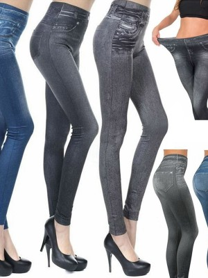 3 Piece Fake Jeans Legging High Waist Pants For Women