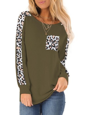 Excellent Royal Blue Leopard Patchwork Round Neck T-Shirt Ultra Sexy