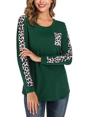 Innovative Green Full Sleeve Leopard Patchwork T-Shirt Female Elegance
