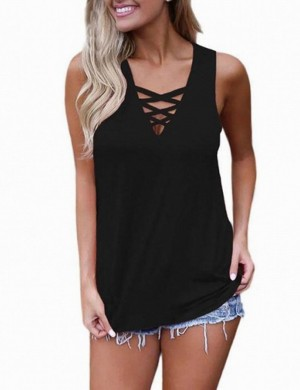 Young Girl Black V Neck Wide Strap Hollow Out Tank Top Women's Fashion