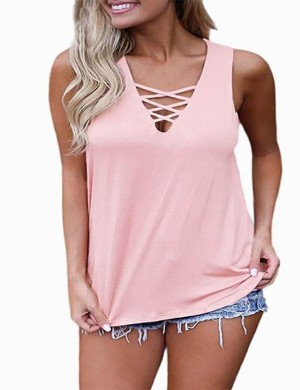 Particularly Pink V Neck Lace Up Tank Top Solid Color For Female