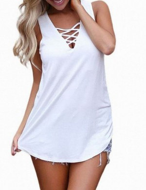 Exquisite White Plain Lace Up Hollow Tank Top V Collar Going Out