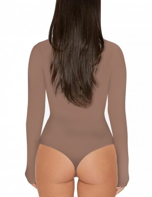 Exquisite Beige Turtle Neck Invisible Button Bodysuit Romance