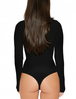 Appealing Black High Neck Long Sleeves Bodysuit Plain For Sauntering