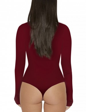 Ultra Cheap Wine Red One Piece Bodysuit Long Sleeved High Collar Lightweight