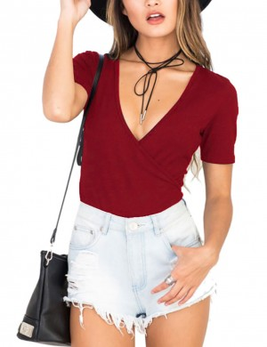 Wine Red Pure Color Bodysuit Deep V-Neck Snap Button Outdoor Activity