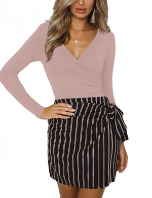 Sophisticated Pink Ruched Plain Bodysuit Wrap V-Neck Natural Outfit