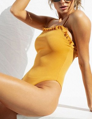 Marvellous Yellow High Rise Tight Jumpsuit Adjustable Straps Ideal Choice