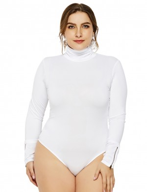 Homelike White Plus Size Rompers Turtleneck Zipper Decor Weekend Fashion