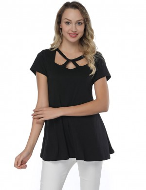 Dishy Black Hollow Out Round Neck Classic Shirts Short Sleeves