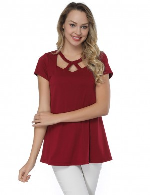 Maiden Flared Hem Wine Red T-Shirts Short-Sleeved Ladies