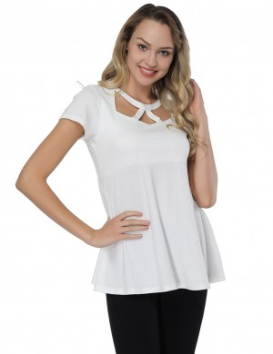 Funny White O Neck Blouses Cut Out Swing Hem Fashion Essential