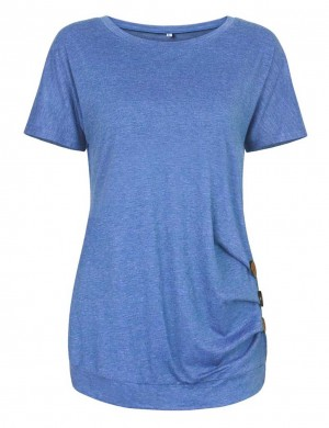 Homelike Blue Side 3 Button Tops Round Neckline Online