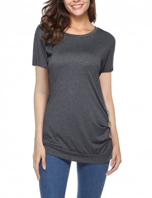 Entrancing Dark Grey Side Button O Collar Tops Folded Hem Heartbreaker