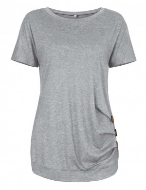 Classic Light Grey O Neckline Shirts Side Button Full Back Chic Online