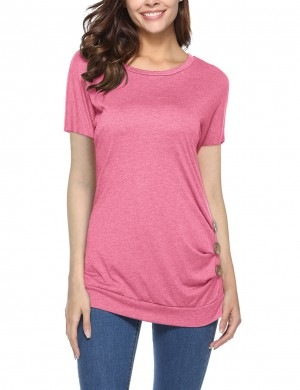 Delicate Dark Pink Button Decorated T-Shirt Short-Sleeved Ladies