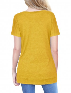 Dreamy Yellow Elastic Hem Blouses Ruched Decor Button At Great Prices‎