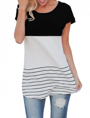 Sleek Black Hit Color Stripe T-Shirt Back Lace Patchwork Wholesale Online