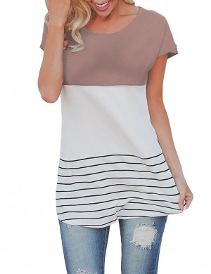 Modern Khaki Short Sleeves Stripe Tops Regular Hem For Hiking