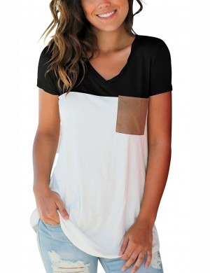 Fresh Black Patchwork V Neck Shirt With Pocket All-Match Style