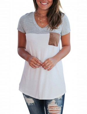 Modest Light Grey V Collar Top Regular Hem Women's Fashion Tops