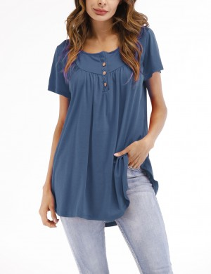 Cozy Light Blue Shorted-Sleeves Pleated Tees Women's Tops 3 Buttons