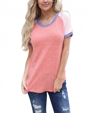 Graceful Pink Solid Color Patchwork Blouses Round Neck Women Fashion