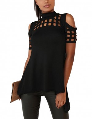 Effective Black Back Split Blouse Irregular Hemline Online Fashion