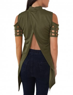 Luscious Curvy Green High Collar T-Shirt Short Sleeves Street Style