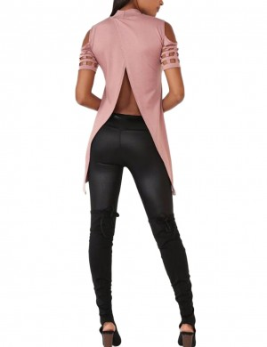 Supper Fashion Dark Pink Cold Shoulder Shirts With Turtleneck