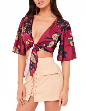Wine Red Crop Top Flower Printing Front Tie Comfort Fit
