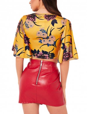 Stylish Yellow V-Neck Top Floral Printed Bell Sleeve Glamorous Look