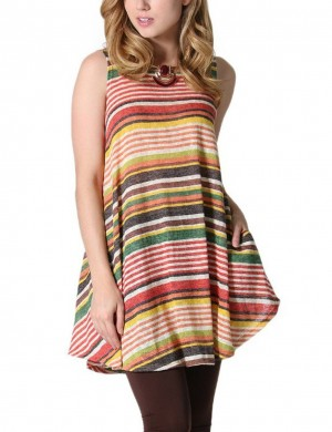 Luscious Curvy Brown Tank Stripe Color Splicing Tees Flying Hem Street Style