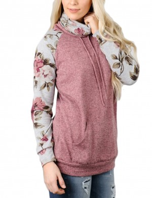 Enthusiastic Rose Red Flower Print Long Sleeved Top Splicing For Ladies