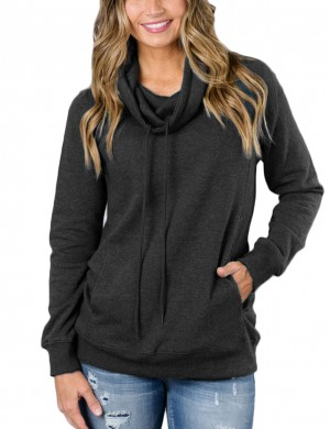 Romans Dark Grey Long Sleeves High Neck Pullovers Tops Leisure