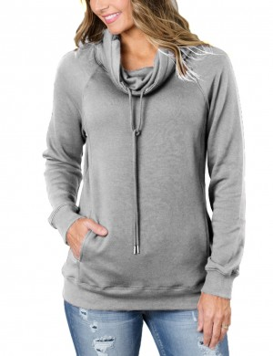 Eye-Catching Light Grey Long Sleeves Pockets Plain Pullovers Sweatshirt Online