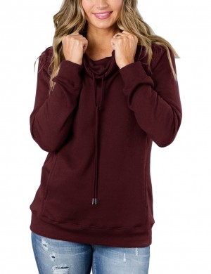 Adorable Wine Red Pullover Drawstring Sweatshirt Long Sleeve Slim