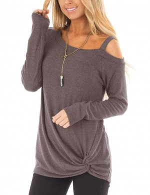 Faddish Brown Front Twist Sweatshirts Long-Sleeved Slim Fit