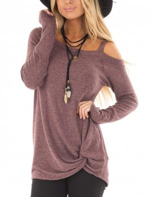 Dark Purple One Strap Sweatshirts Asymmetrical Hem For Street Snap