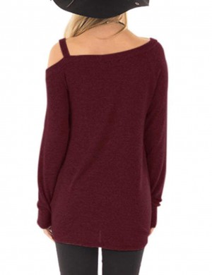 Romans Wine Red Twist Hem Sweatshirt Single Shoulder Strap Home Clothes