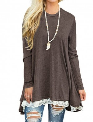Effective Brown Crew Neckline Sweatshirt Lace Patchwork Online Fashion