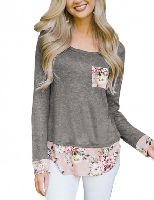 Stylish Grey Floral Print Long Sleeves Shirts Stitching Online Shopping