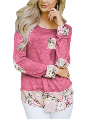 Striking Pink Pocket Pullover Tops Print Patchwork Fashion