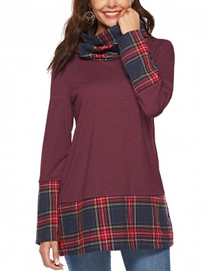 Explicitly Chosen Wine Red High Collar Sweatshirts Full-Sleeved Leisure