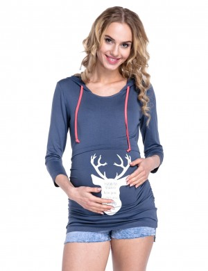 Pleasant Blue Xmas Maternity Hooded Tops Deer Print Fashion Clothing Online