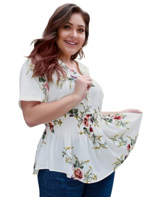 Enthralling White Blouse Floral Printed Ruched Queen Size Super Faddish